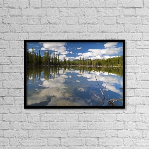 "Printscapes Wall Art: 18"" x 12"" Canvas Print With Black Frame - Reflection In Water, Kananaskis, Alberta by Philippe Widling"