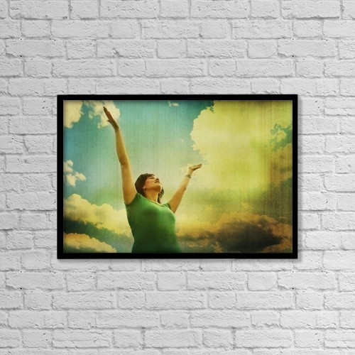 """Printscapes Wall Art: 18"""" x 12"""" Canvas Print With Black Frame - Woman With Arms Raised by Kristy-Anne Glubish"""