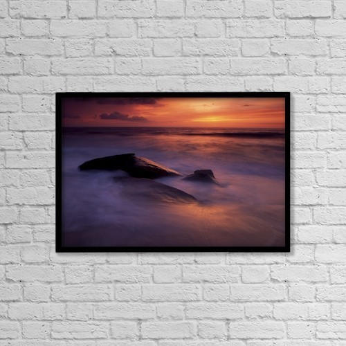"Printscapes Wall Art: 18"" x 12"" Canvas Print With Black Frame - Derrynane Bay, County Kerry, Ireland by Richard Cummins"