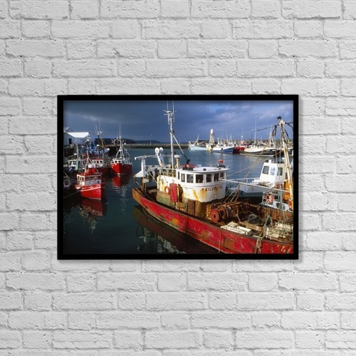 """Printscapes Wall Art: 18"""" x 12"""" Canvas Print With Black Frame - County Waterford, Ireland; Fishing Boats by Richard Cummins"""
