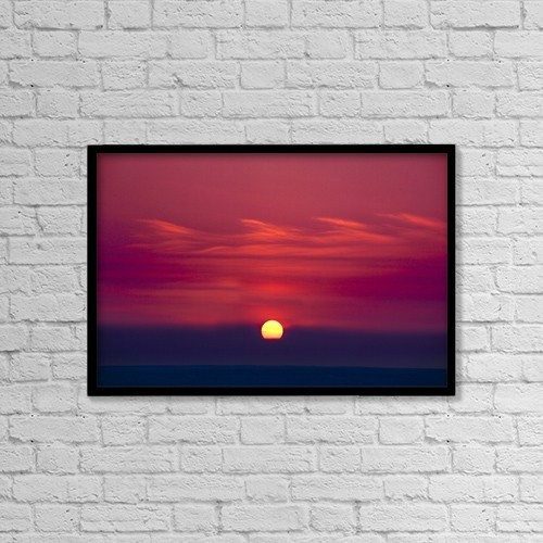 "Printscapes Wall Art: 18"" x 12"" Canvas Print With Black Frame - Red Sky And Sunset by Richard Wear"