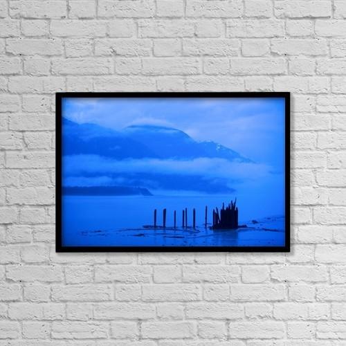 "Printscapes Wall Art: 18"" x 12"" Canvas Print With Black Frame - Mountain Lake, Hyder, Alaska, Usa by Richard Wear"