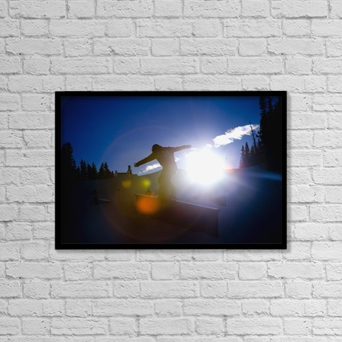 "Printscapes Wall Art: 18"" x 12"" Canvas Print With Black Frame - Snowboarder by Tes Lalonde"