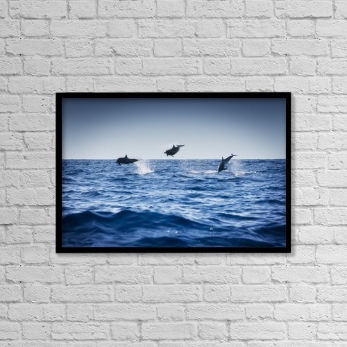 """Printscapes Wall Art: 18"""" x 12"""" Canvas Print With Black Frame - Dolphins Playing In The Ocean by Darren Greenwood"""