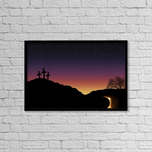 "Printscapes Wall Art: 18"" x 12"" Canvas Print With Black Frame - Empty Tomb And Three Crosses by Colette Scharf"