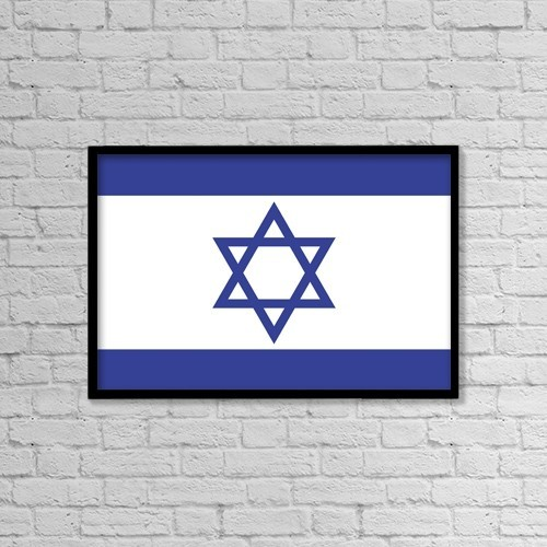 "Printscapes Wall Art: 18"" x 12"" Canvas Print With Black Frame - Israeli Flag by Colette Scharf"