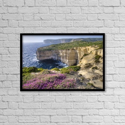"Printscapes Wall Art: 18"" x 12"" Canvas Print With Black Frame - Cliffs Along Ocean With Wildflowers by Philippe Widling"