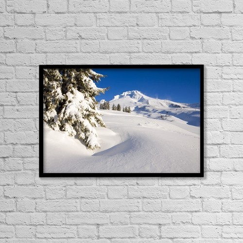 "Printscapes Wall Art: 18"" x 12"" Canvas Print With Black Frame - Mount Hood, Oregon, United States Of America by Craig Tuttle"