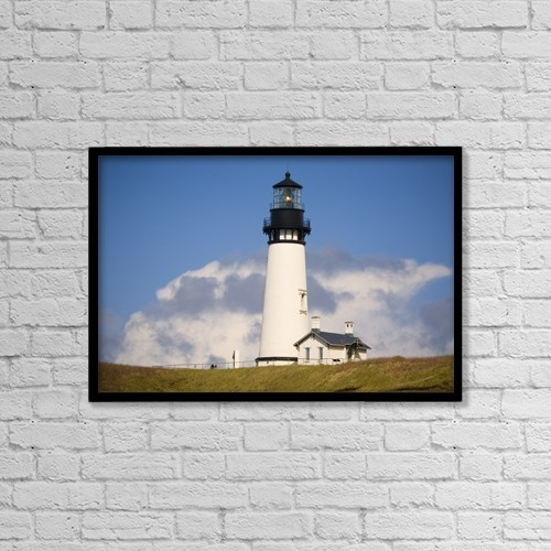 """Printscapes Wall Art: 18"""" x 12"""" Canvas Print With Black Frame - Lighthouse, Oregon, United States Of America by Craig Tuttle"""