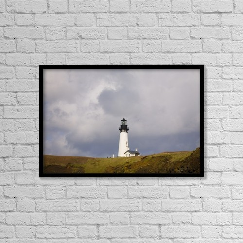 "Printscapes Wall Art: 18"" x 12"" Canvas Print With Black Frame - Yaquina Head Lighthouse, Oregon Coast, Usa by Craig Tuttle"