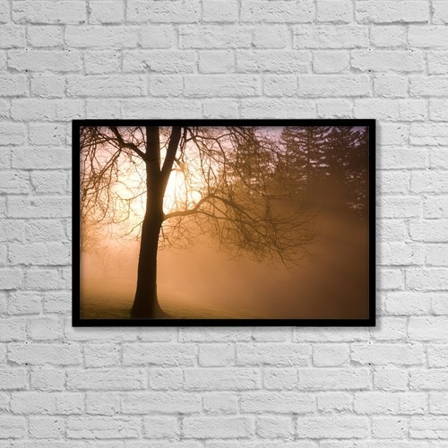 "Printscapes Wall Art: 18"" x 12"" Canvas Print With Black Frame - Sunrise, Happy Valley, Oregon, Usa by Craig Tuttle"