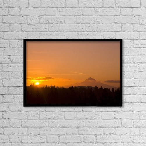 "Printscapes Wall Art: 18"" x 12"" Canvas Print With Black Frame - Mount Hood, Oregon, Usa by Craig Tuttle"