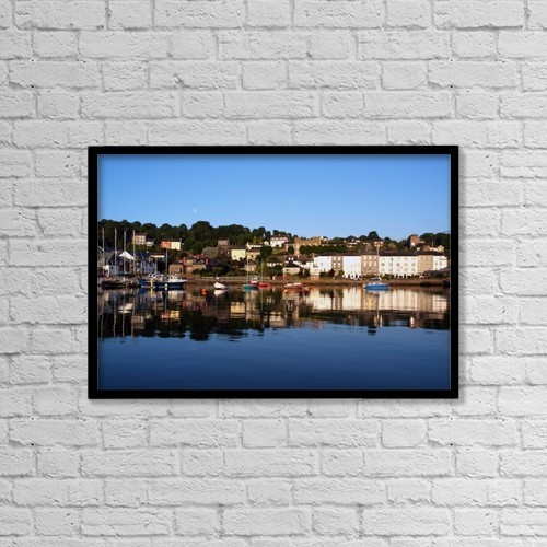 "Printscapes Wall Art: 18"" x 12"" Canvas Print With Black Frame - Kinsale, River Bandon, County Cork, Ireland by Peter Zoeller"