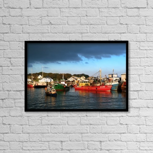 "Printscapes Wall Art: 18"" x 12"" Canvas Print With Black Frame - Greencastle, County Donegal, Ireland by Peter Zoeller"