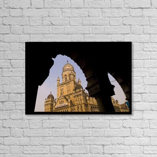 "Printscapes Wall Art: 18"" x 12"" Canvas Print With Black Frame - Palace, Bombay, India by Keith Levit"
