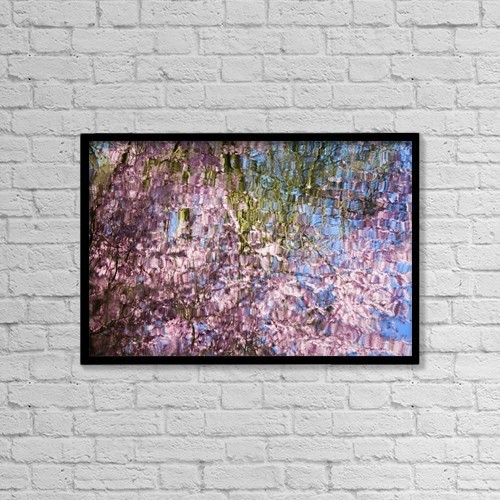 "Printscapes Wall Art: 18"" x 12"" Canvas Print With Black Frame - Spring Blossoms Reflecting In Lake by Craig Tuttle"