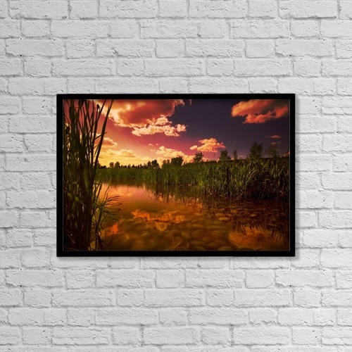 "Printscapes Wall Art: 18"" x 12"" Canvas Print With Black Frame - Sunset Over A Lake by Darren Greenwood"