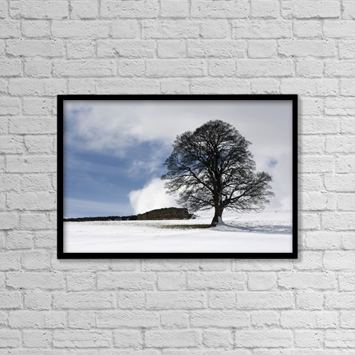 "Printscapes Wall Art: 18"" x 12"" Canvas Print With Black Frame - Snowy Field And Tree by John Short"