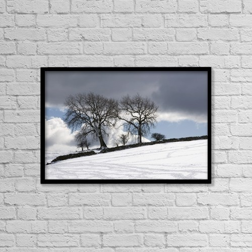 "Printscapes Wall Art: 18"" x 12"" Canvas Print With Black Frame - Snowy Field, Weardale, County Durham, England by John Short"