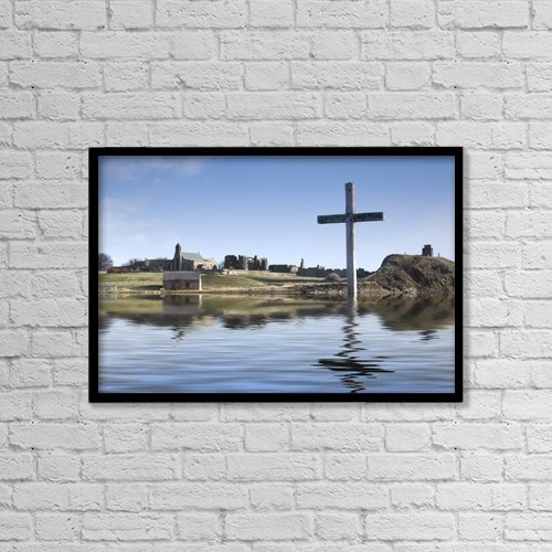 """Printscapes Wall Art: 18"""" x 12"""" Canvas Print With Black Frame - Cross In Water, Bewick, England by John Short"""
