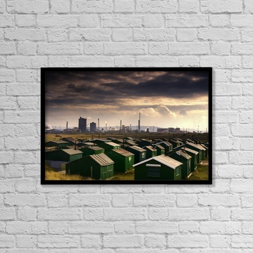 """Printscapes Wall Art: 18"""" x 12"""" Canvas Print With Black Frame - Architectural Exteriors by John Short"""