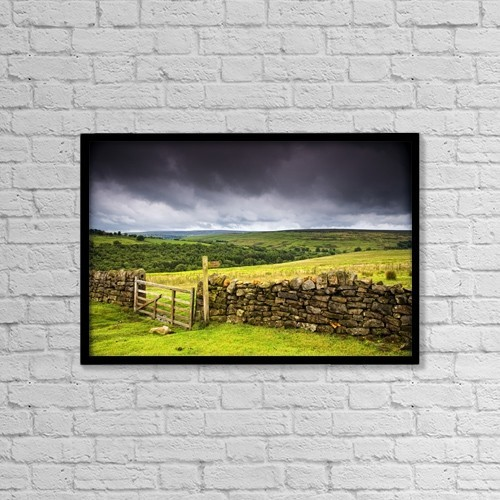 """Printscapes Wall Art: 18"""" x 12"""" Canvas Print With Black Frame - Stone Fence, Yorkshire, England by John Short"""