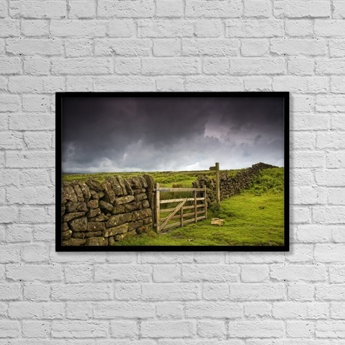 "Printscapes Wall Art: 18"" x 12"" Canvas Print With Black Frame - Stone Fence, Yorkshire, England by John Short"