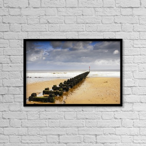 "Printscapes Wall Art: 18"" x 12"" Canvas Print With Black Frame - Jetty On Beach, Yorkshire, England by John Short"