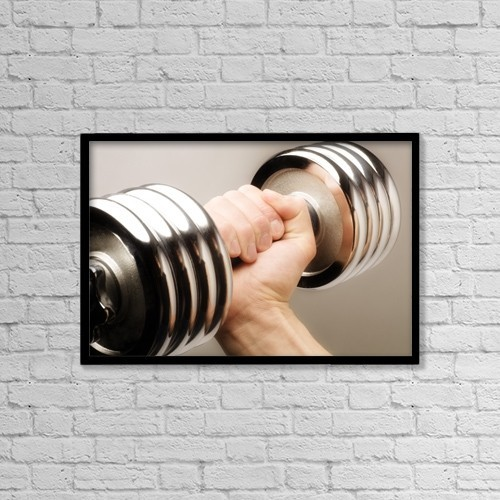 "Printscapes Wall Art: 18"" x 12"" Canvas Print With Black Frame - Lifting Weights by Chris and Kate Knorr"
