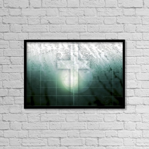 "Printscapes Wall Art: 18"" x 12"" Canvas Print With Black Frame - The Cross by Chris and Kate Knorr"