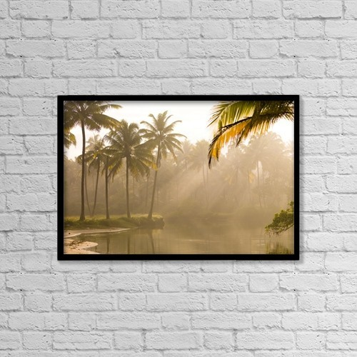 """Printscapes Wall Art: 18"""" x 12"""" Canvas Print With Black Frame - Palm Trees And Sunbeams, Kerala, India by Keith Levit"""
