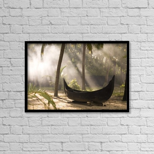 "Printscapes Wall Art: 18"" x 12"" Canvas Print With Black Frame - Sunlight Shining On A Canoe by Keith Levit"