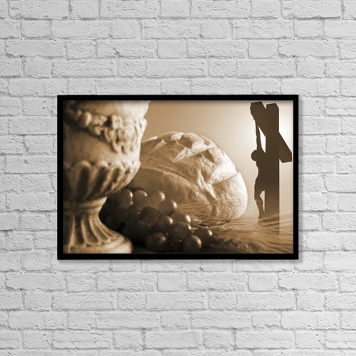 "Printscapes Wall Art: 18"" x 12"" Canvas Print With Black Frame - Communion And Crucifixion Symbols by Colette Scharf"