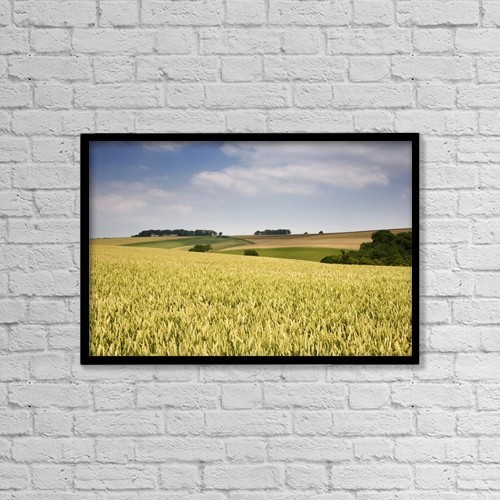 "Printscapes Wall Art: 18"" x 12"" Canvas Print With Black Frame - Wheat Field, North Yorkshire, England by John Short"