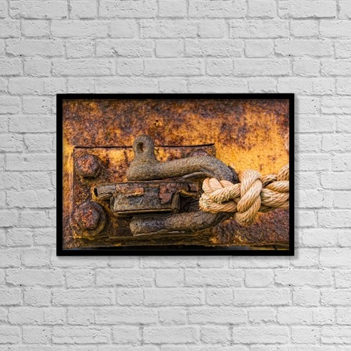 "Printscapes Wall Art: 18"" x 12"" Canvas Print With Black Frame - Rusty Hook by John Short"