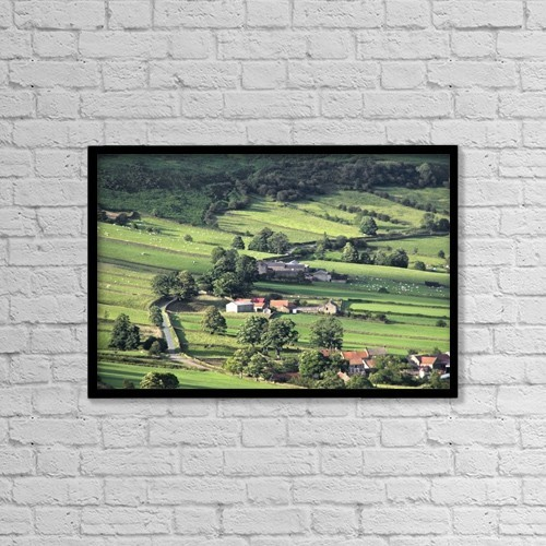 """Printscapes Wall Art: 18"""" x 12"""" Canvas Print With Black Frame - Town On Hillside, North Yorkshire, England by John Short"""