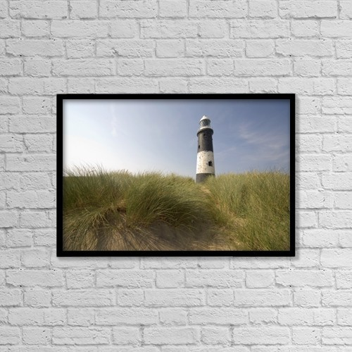 "Printscapes Wall Art: 18"" x 12"" Canvas Print With Black Frame - Lighthouse In The Dunes by John Short"