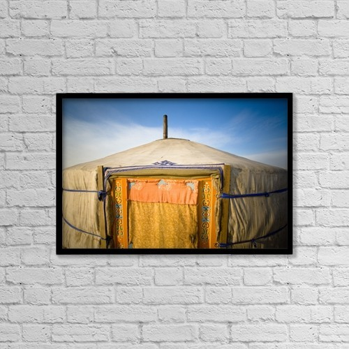 """Printscapes Wall Art: 18"""" x 12"""" Canvas Print With Black Frame - Tent In The Desert; Ulaanbaatar, Mongolia by David DuChemin"""