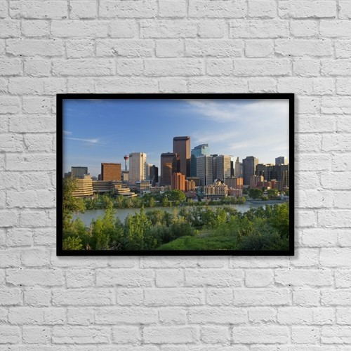 """Printscapes Wall Art: 18"""" x 12"""" Canvas Print With Black Frame - Calgary, Alberta, Canada by Philippe Widling"""