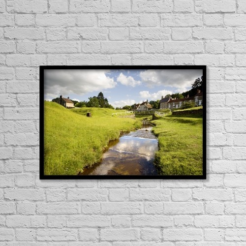 "Printscapes Wall Art: 18"" x 12"" Canvas Print With Black Frame - Stream By A Village, North Yorkshire, England by John Short"