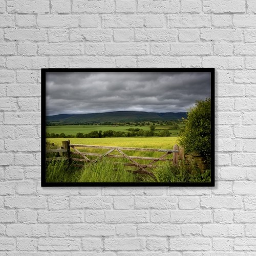"Printscapes Wall Art: 18"" x 12"" Canvas Print With Black Frame - Field, Cumbria, England by John Short"
