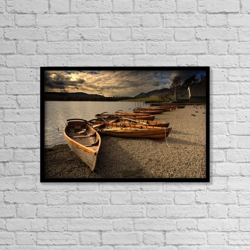 "Printscapes Wall Art: 18"" x 12"" Canvas Print With Black Frame - Canoes On The Shore, Keswick, Cumbria, England by John Short"