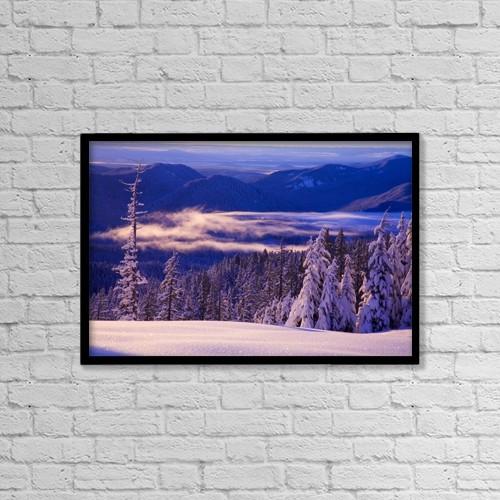 "Printscapes Wall Art: 18"" x 12"" Canvas Print With Black Frame - Winter Snow, Cascade Range, Oregon, Usa by Craig Tuttle"