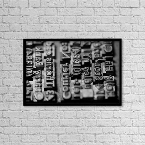 "Printscapes Wall Art: 18"" x 12"" Canvas Print With Black Frame - Letterpress Type by John Short"