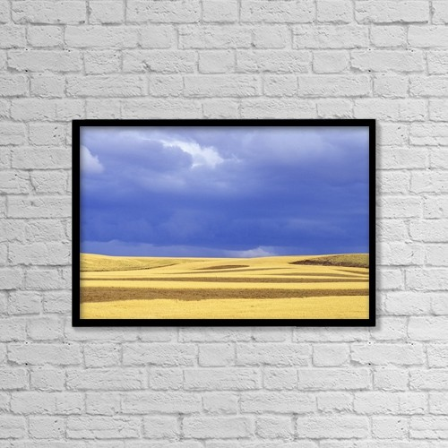 "Printscapes Wall Art: 18"" x 12"" Canvas Print With Black Frame - Wheat Fields Near Hermiston, Oregon, Usa by Dan Sherwood"