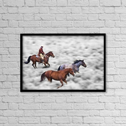 """Printscapes Wall Art: 18"""" x 12"""" Canvas Print With Black Frame - Man Riding Horse by Richard Wear"""