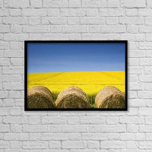 "Printscapes Wall Art: 18"" x 12"" Canvas Print With Black Frame - Agriculture by John Short"