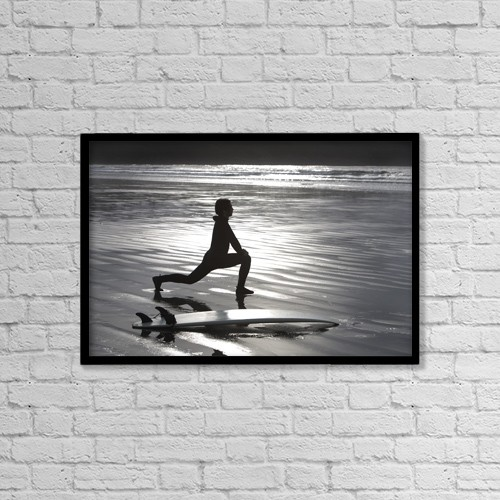 "Printscapes Wall Art: 18"" x 12"" Canvas Print With Black Frame - Surfer Stretching On Beach by Deddeda"