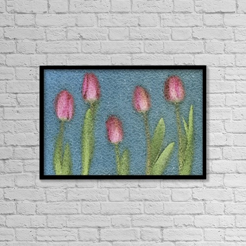 "Printscapes Wall Art: 18"" x 12"" Canvas Print With Black Frame - Pink Tulips by Deddeda"