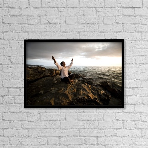 "Printscapes Wall Art: 18"" x 12"" Canvas Print With Black Frame - Man Worshipping, Koh Lanta, Thailand, Asia by Deddeda"